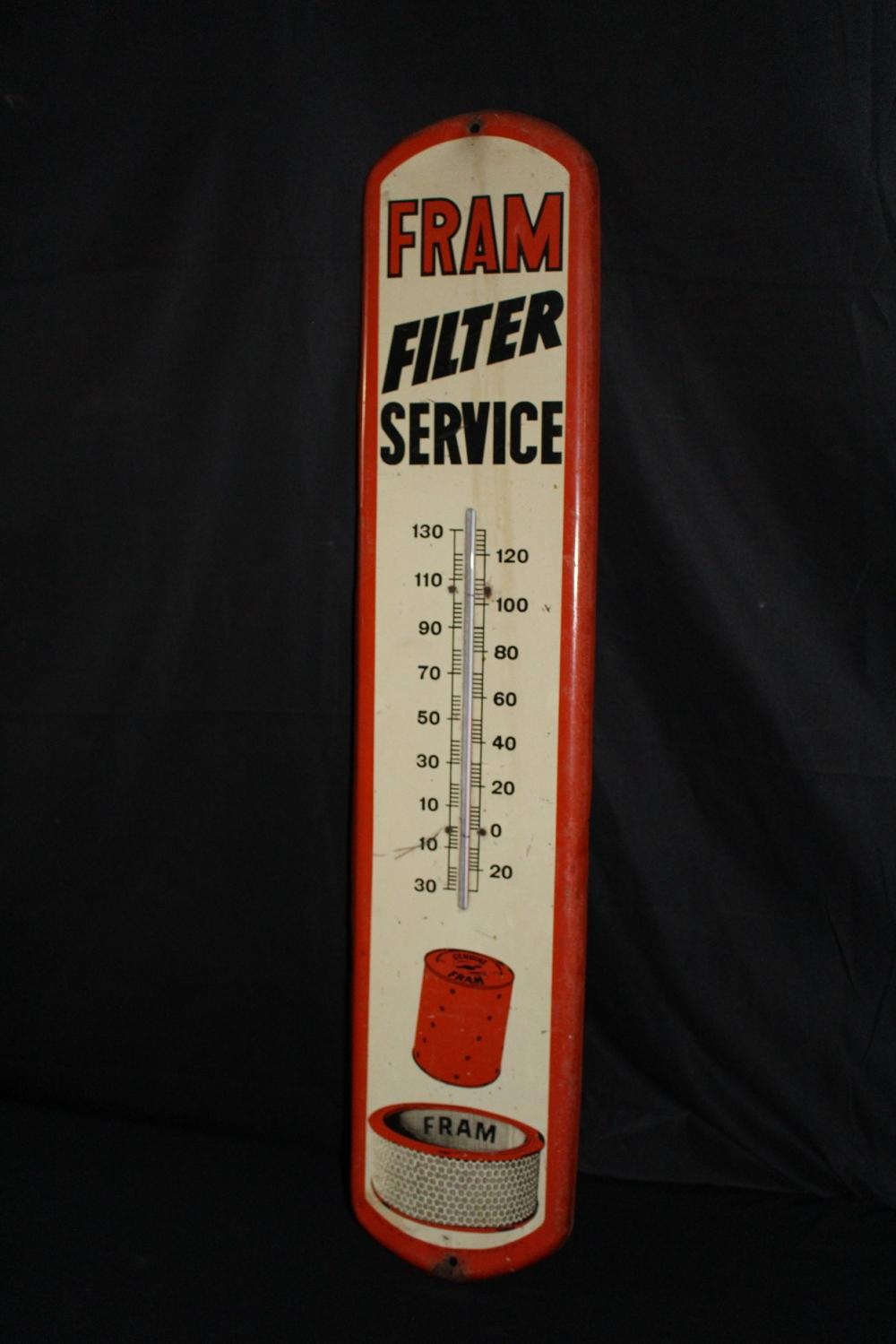 FRAM OIL & AIR FILTER THERMOMETER TIN SIGN