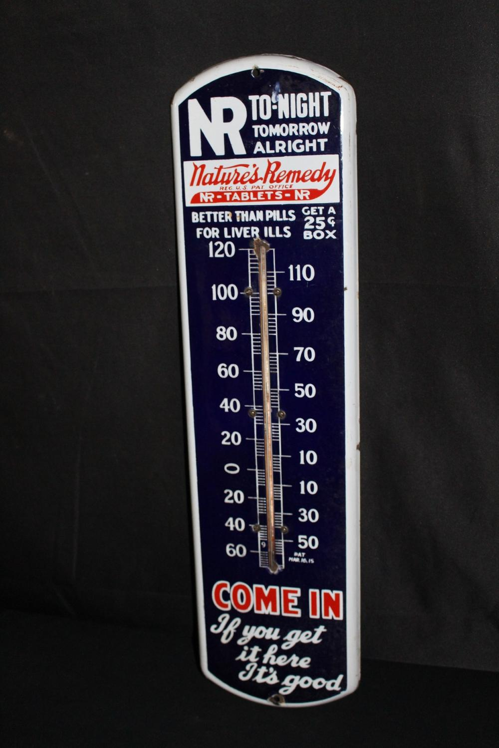 PORCELAIN NATURES REMEDY THERMOMETER SIGN