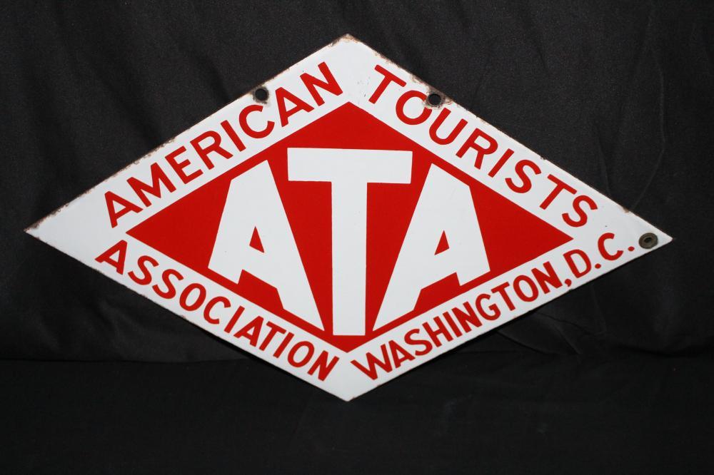 PORCELAIN ATA AMERICAN TOURISTS ASSN SIGN