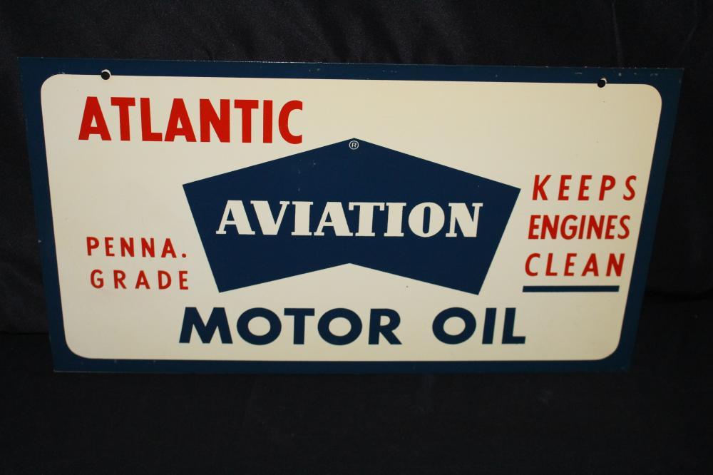 NOS ATLANTIC AVIATION OIL RACK SIGN 2 SIDED