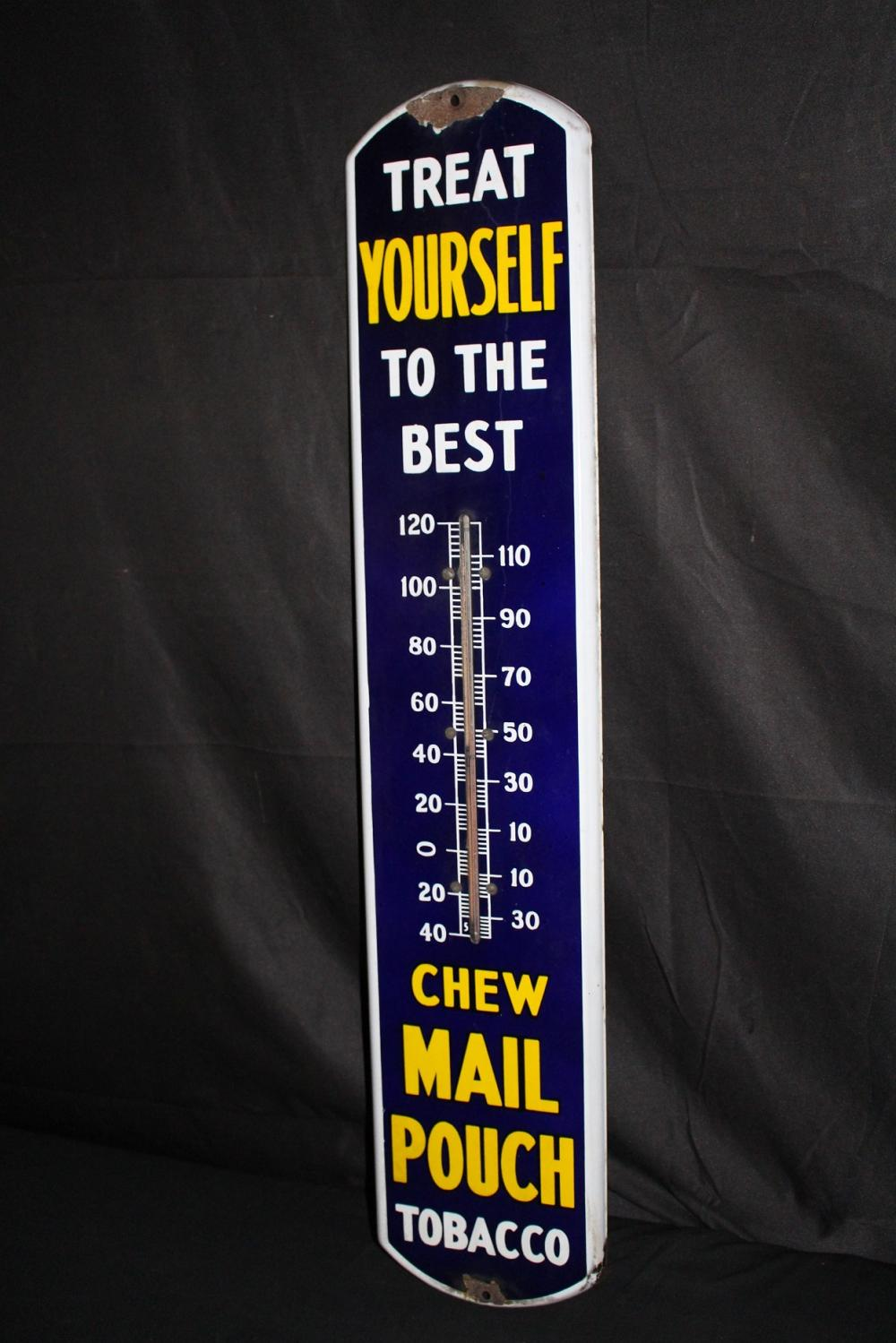 PORCELAIN MAIL POUCH TOBACCO THERMOMETER SIGN