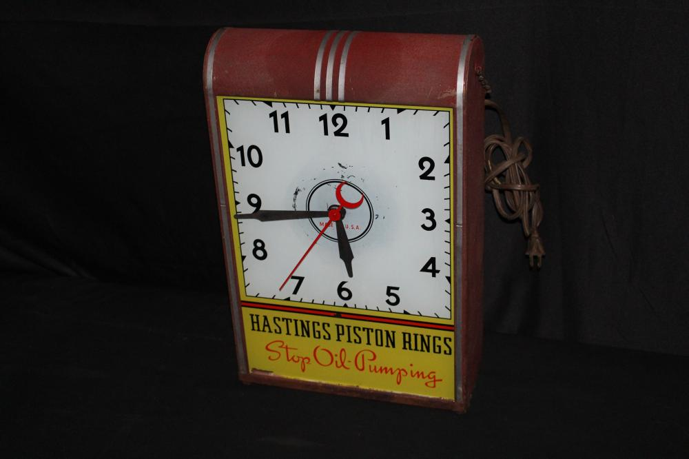 HASTINGS PISTON RINGS LIGHTED CLOCK SIGN