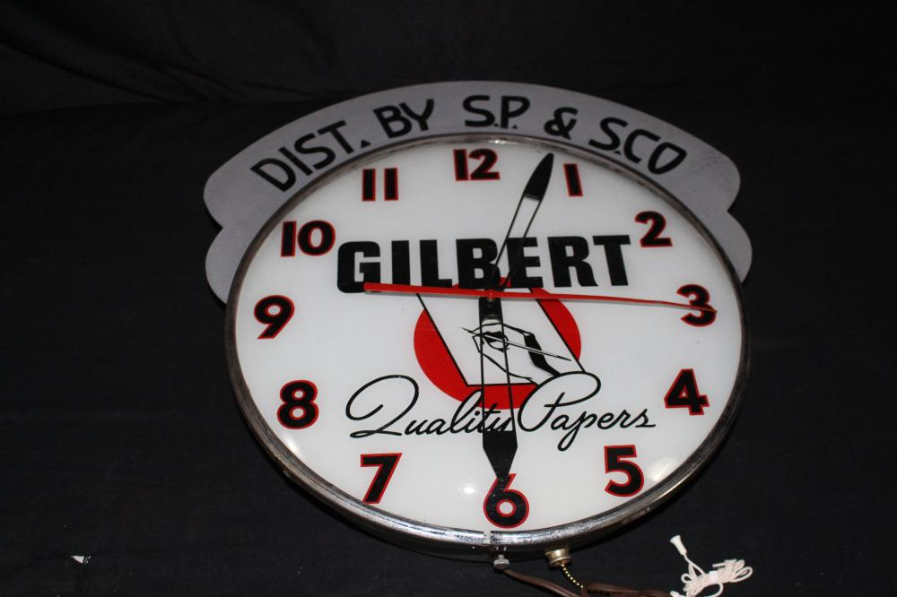 GILBERT QUALITY PAPERS CLOCK WITH MARQUEE SIGN