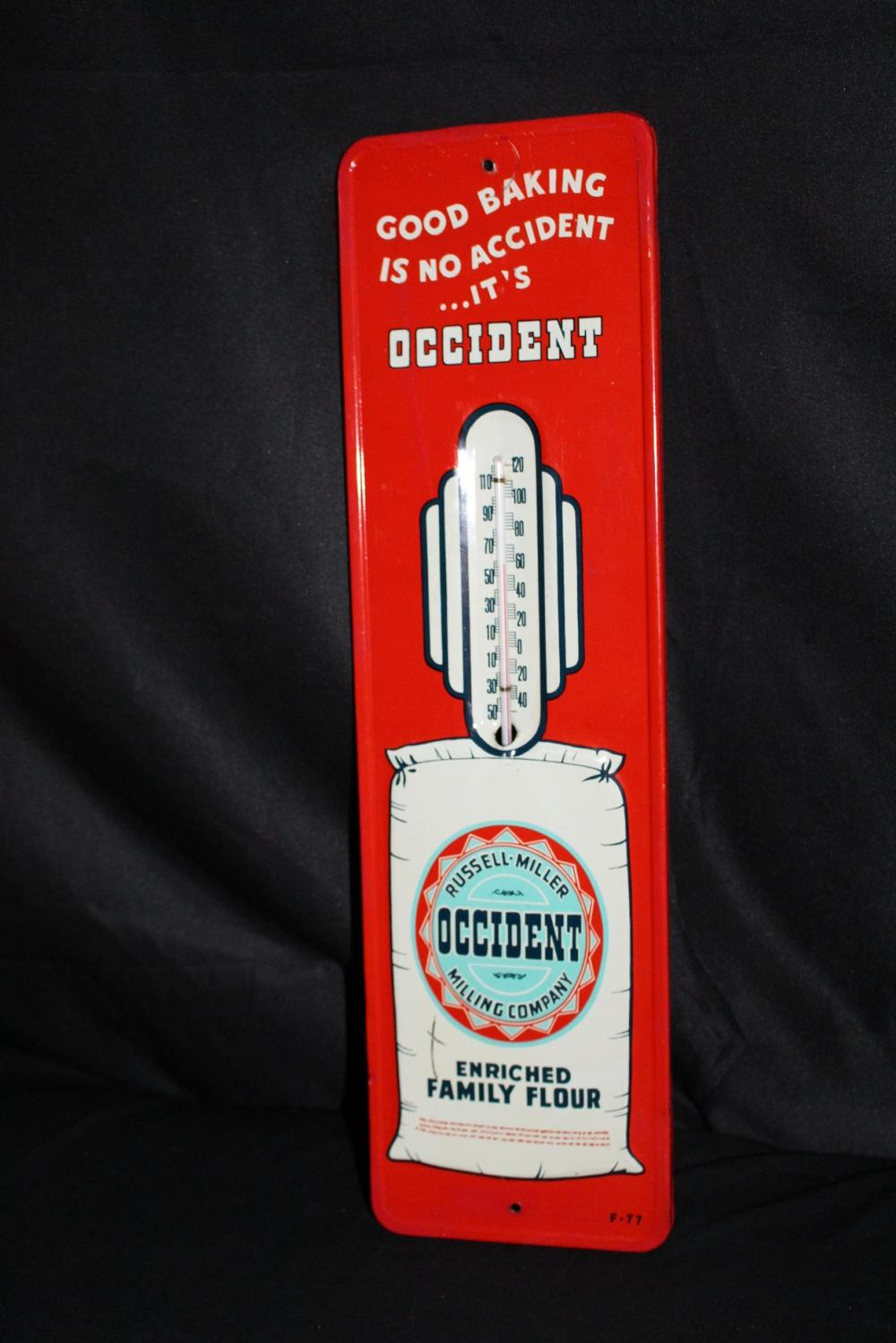RUSSELL MILLER OCCIDENT FLOUR THERMOMETER SIGN