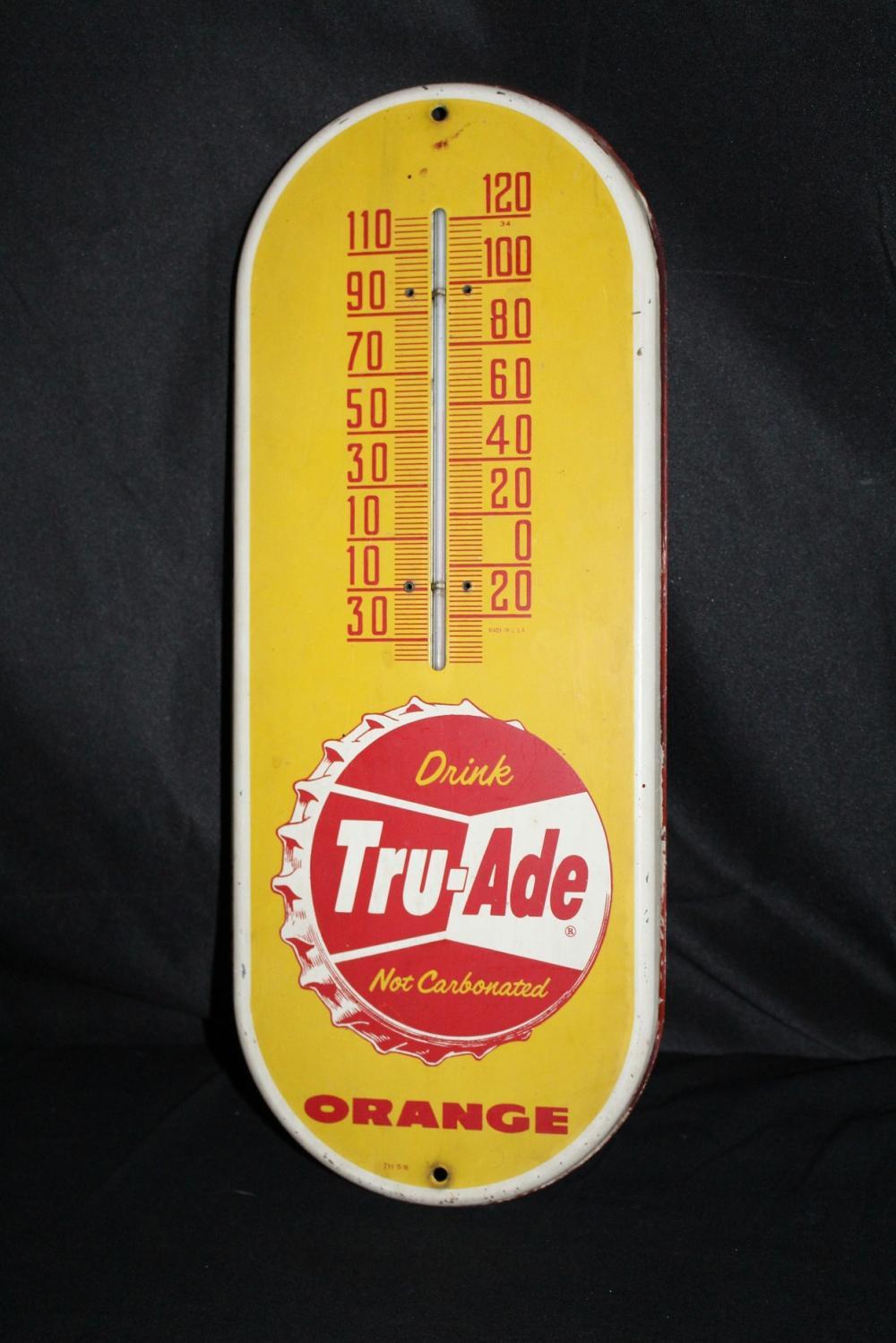 TRU ADE ORANGE SODA POP THERMOMETER TIN SIGN