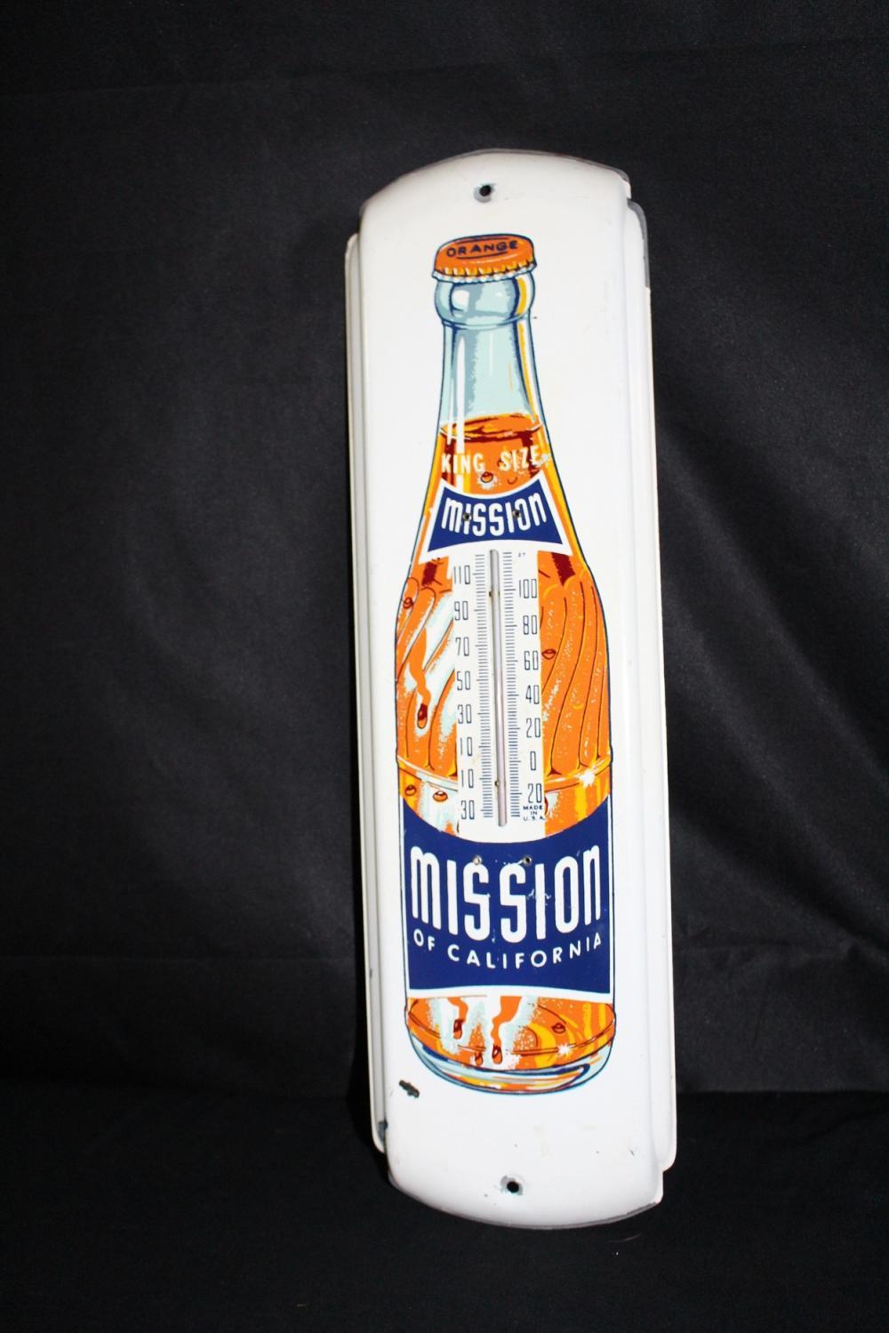 CALIFORNIA MISSION ORANGE SODA POP THERMOMETER