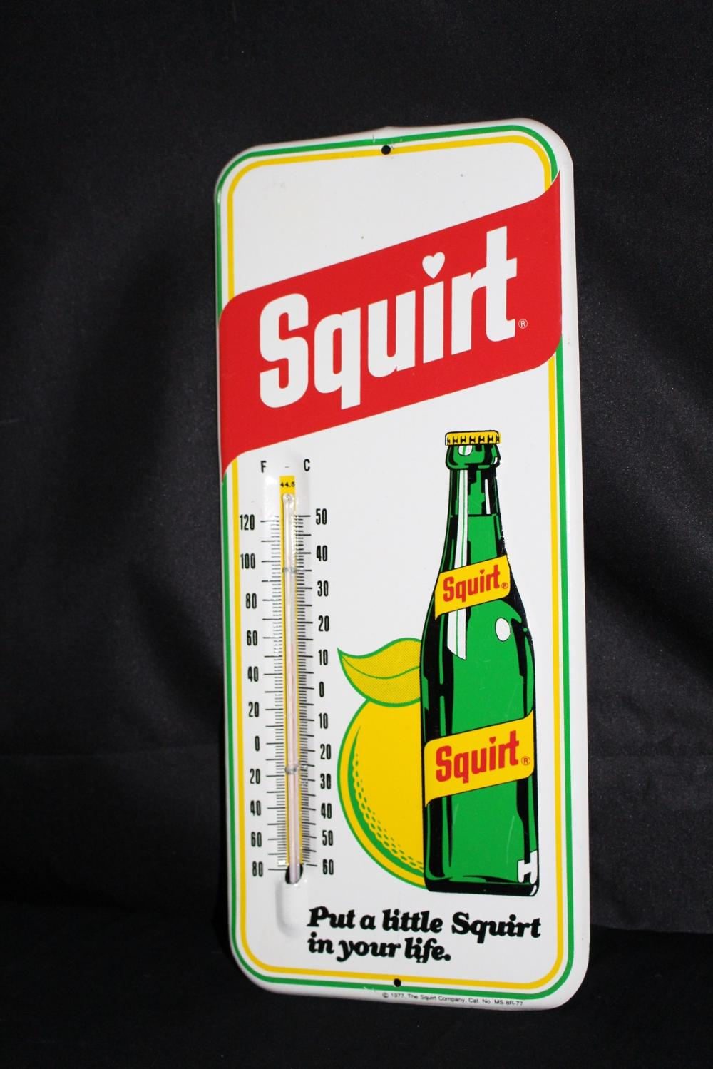 SQUIRT SODA POP THERMOMETER TIN SIGN