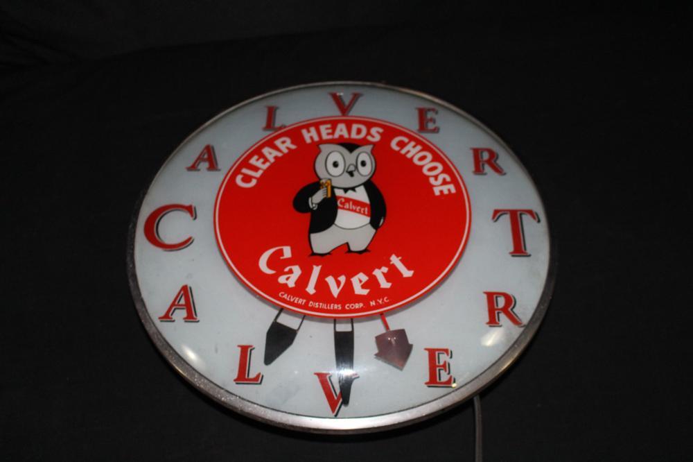 CALVERT WHISKET DISTILLERY TELECHRON CLOCK SIGN