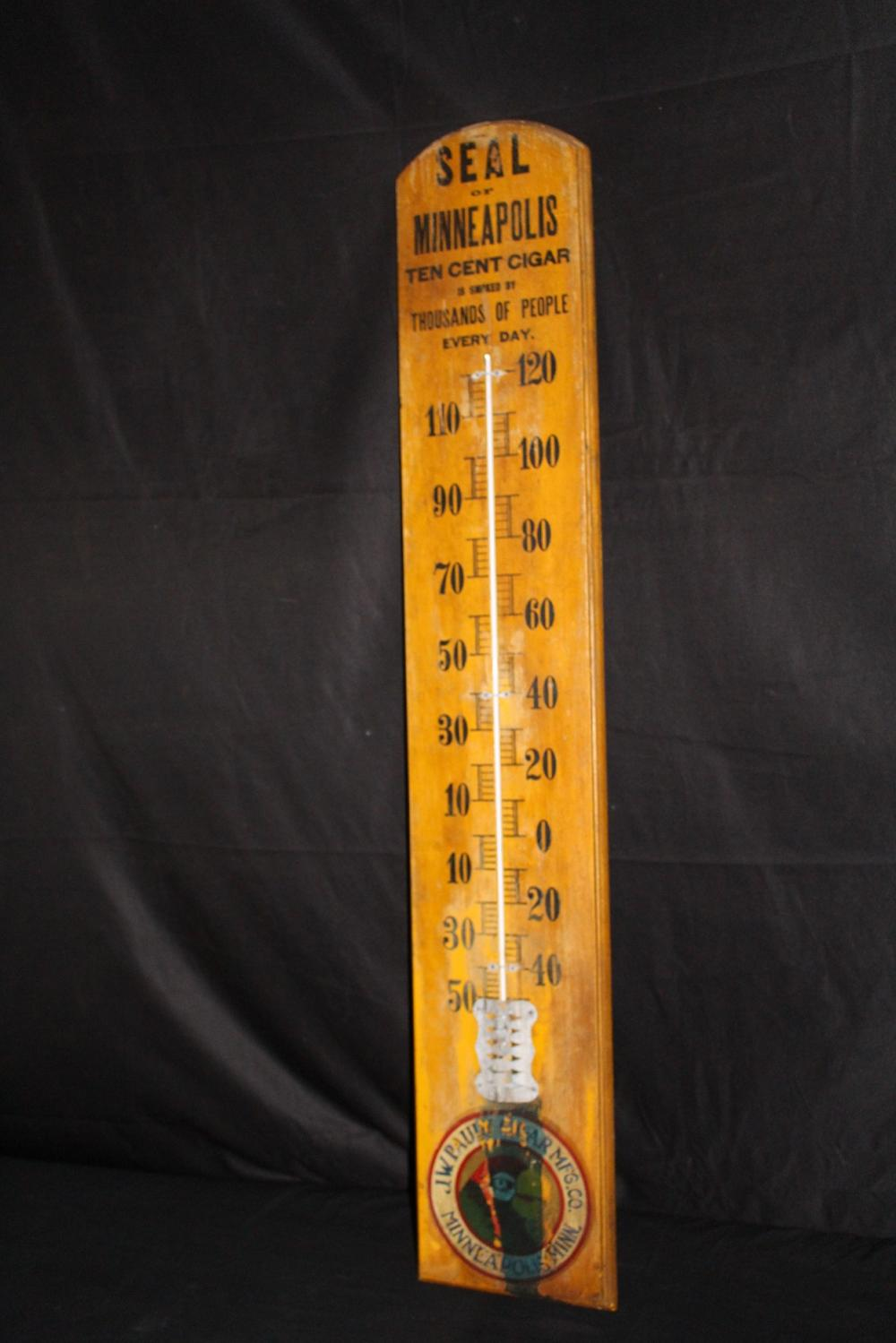 LARGE WOOD THERMOMETER SEAL MINNEAPOLIS CIGARS