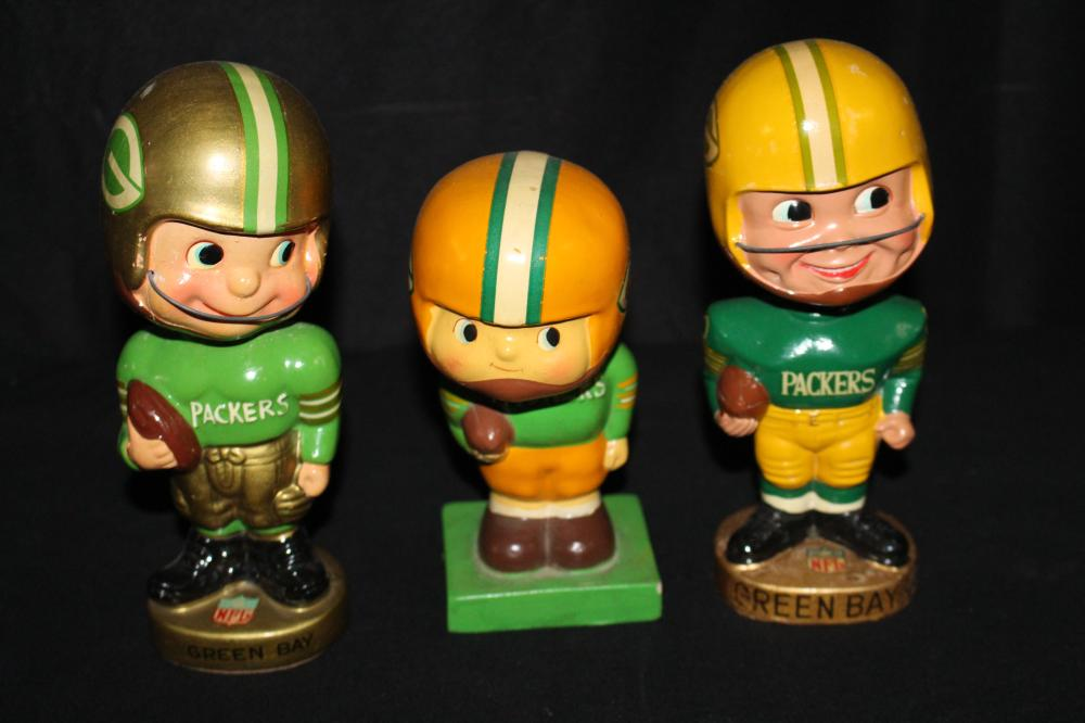3 GREEN BAY PACKERS BOBBLE HEADS