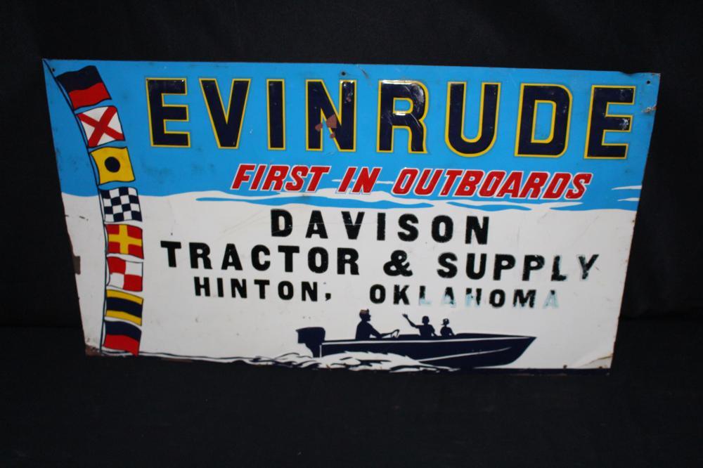 EVINRUDE OUTBOARD MOTORS TIN SIGN HINTON OK