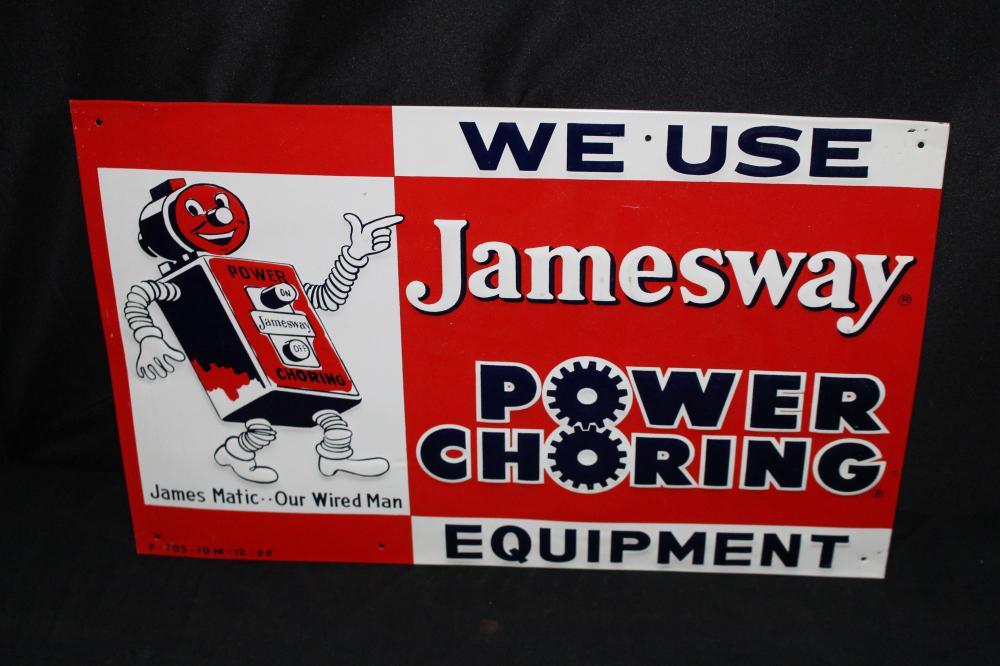 JAMESWAY POWER CHORING EQUIPMENT TIN SIGN