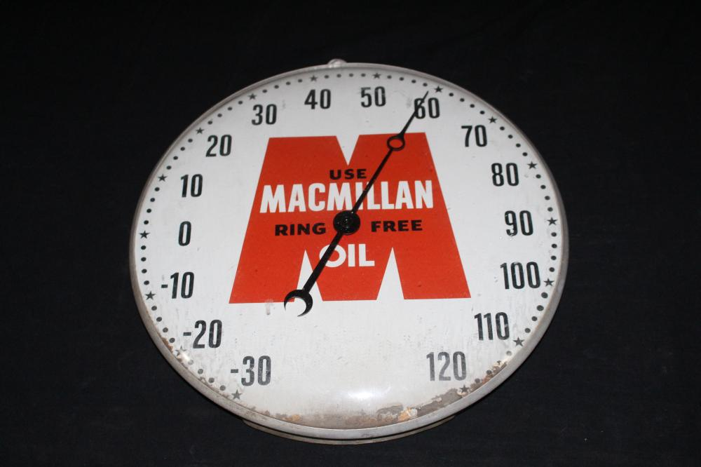 MACMILLAN RING FREE MOTOR OIL THERMOMETER SIGN