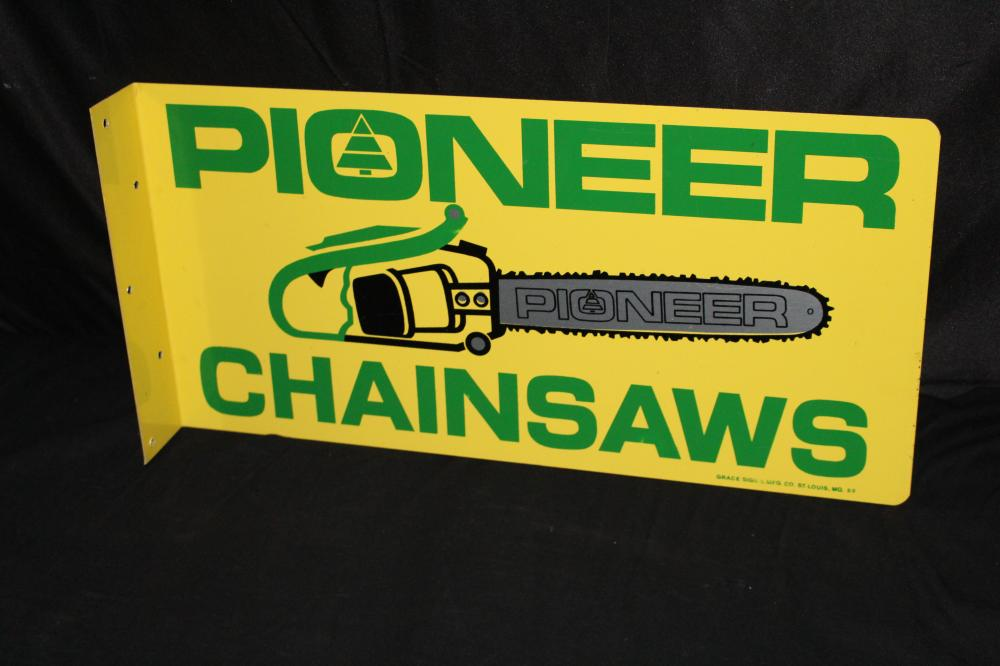 NOS PIONEER CHAINSAWS CHAIN SAW FLANGE SIGN