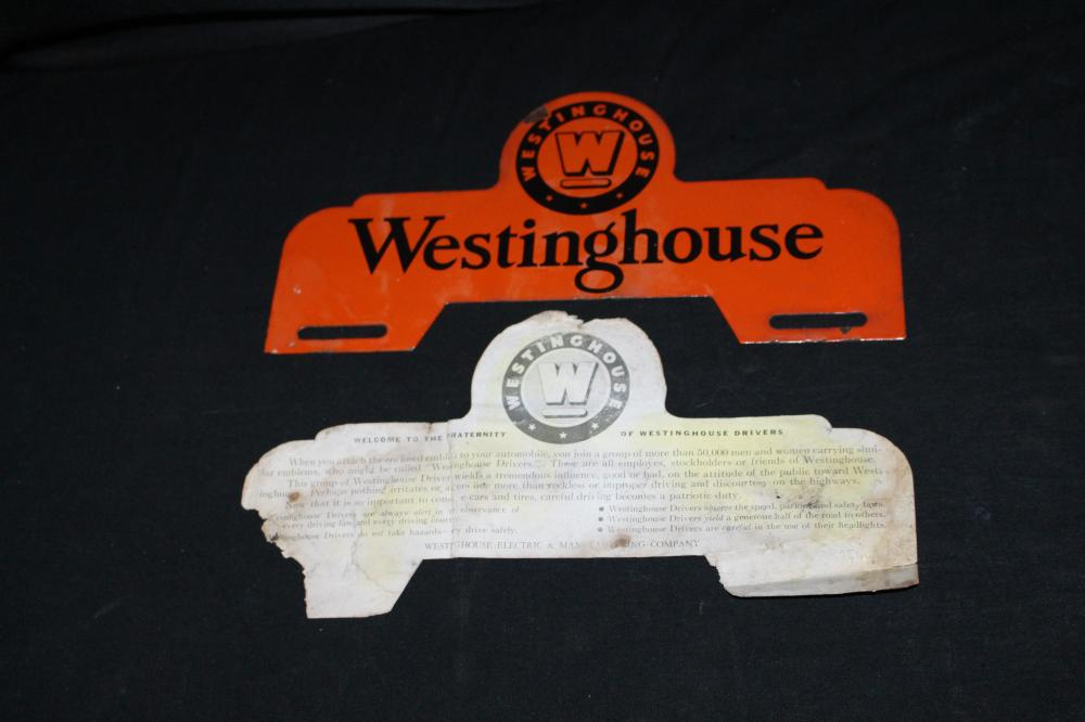 PORCELAIN WESTINGHOUSE LICENSE PLATE TOPPER