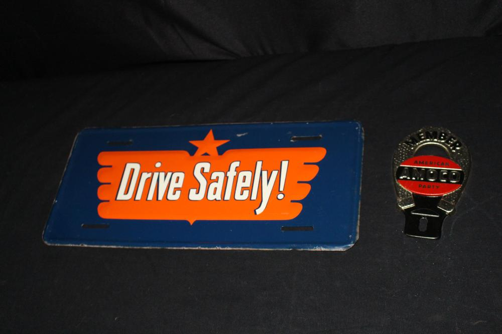 CROWN & AMOCO GAS LICENSE PLATE TOPPERS