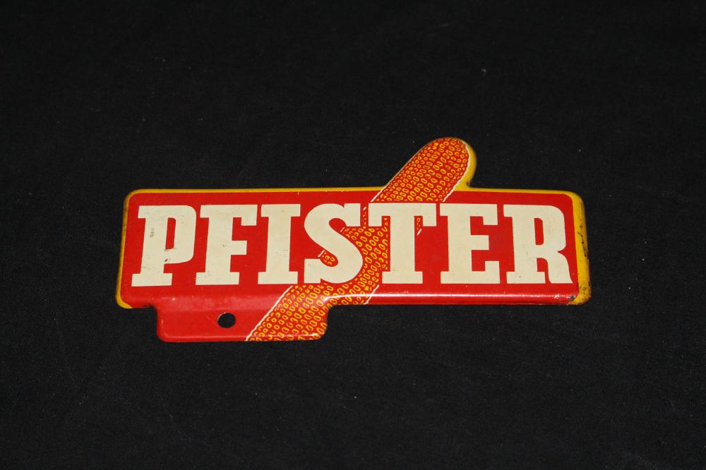 PFISTER SEED CORN LICENSE PLATE TOPPER SIGN