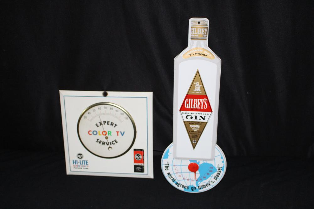 RCA TV TUBES & GILBEYS GIN THERMOMETERS