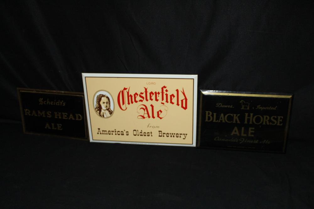 CHESTERFIELD BLACK HORSE & RAMS HEAD ALE BEER SIGN