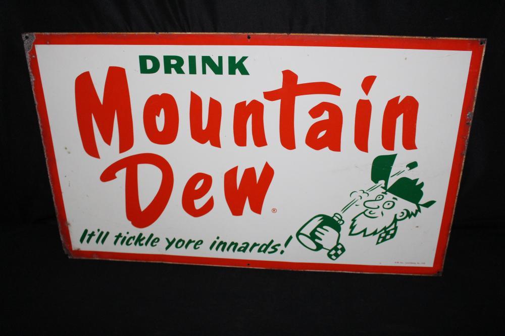 DRINK MOUNTAIN DEW HILLBILLY SODA POP TIN SIGN