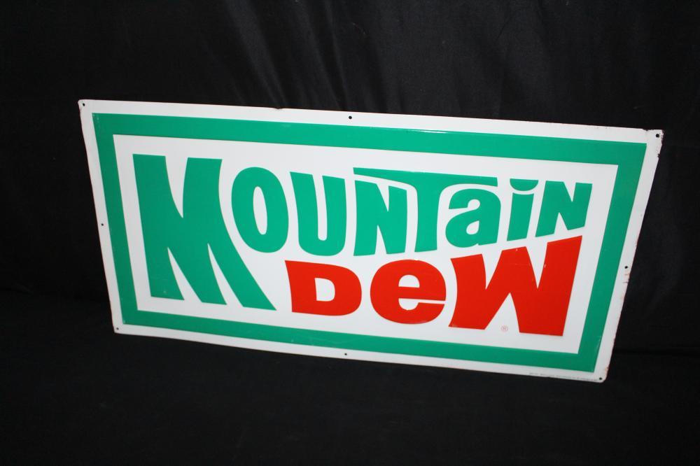 1982 MOUNTAIN DEW SODA POP TIN SIGN