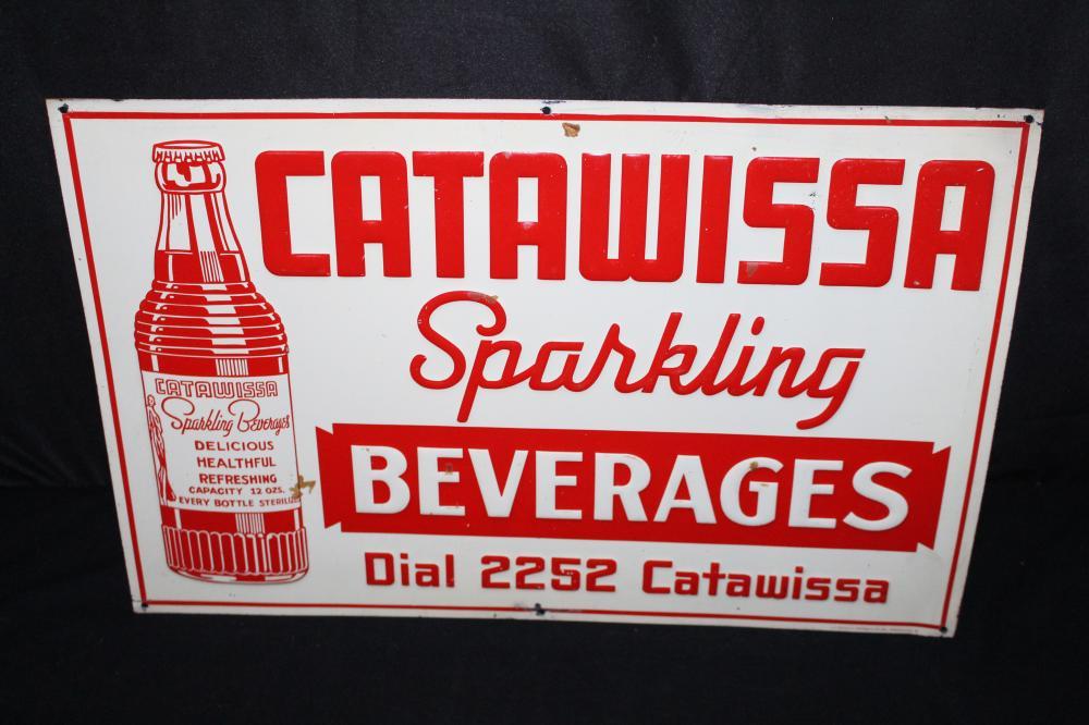 CATAWISSA SPARKLING BEVERAGES SODA POP TIN SIGN