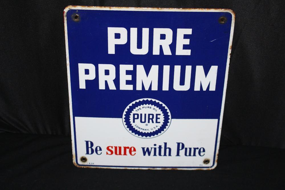 PORCELAIN PURE PREMIUM GASOLINE GAS PUMP SIGN