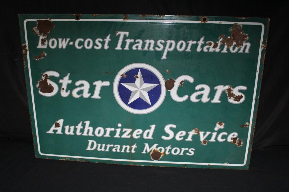 PORCELAIN DURANT MOTORS STAR CARS DEALER SIGN