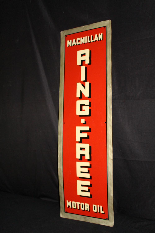 MACMILLAN RING FREE MOTOR OIL SIGN