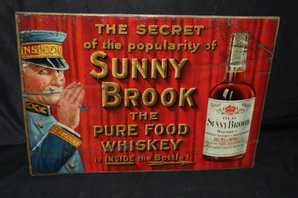 SUNNY BROOK PURE FOOD WHISKEY TIN SIGN
