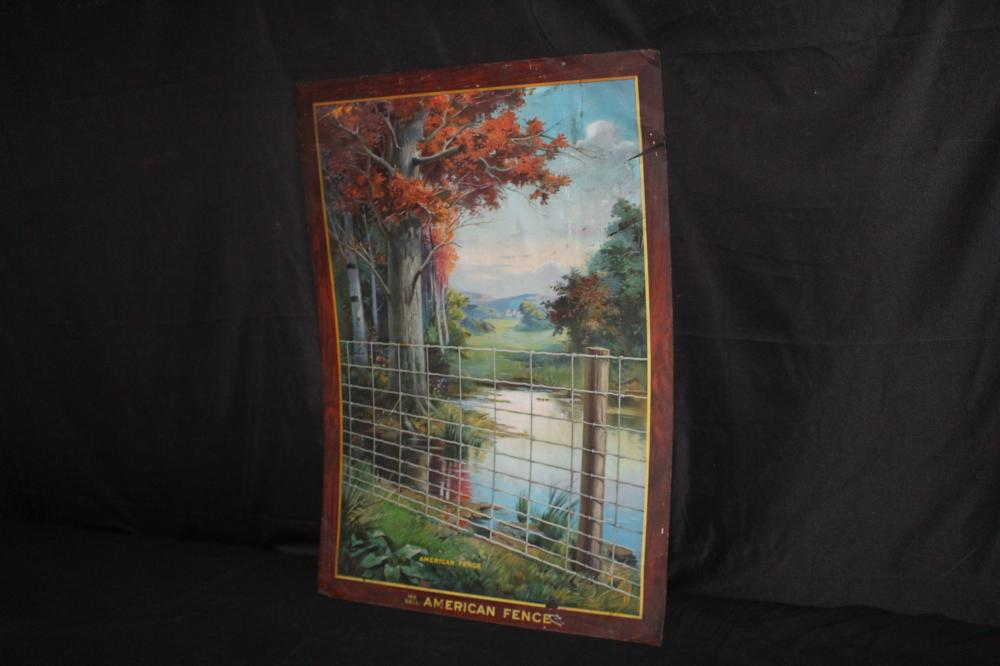 WE SELL AMERICAN FENCE TIN LITHO SIGN