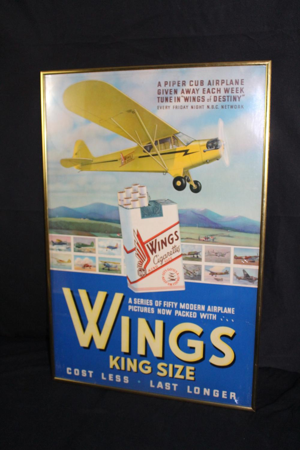 WINGS CIGARETTES PIPER CUB AIRPLANE SIGN