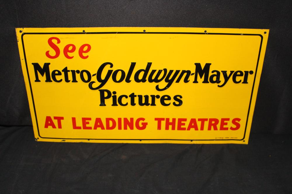 METRO GOLDWYN MAYER PICTURES MOVIE THEATER TIN SIGN