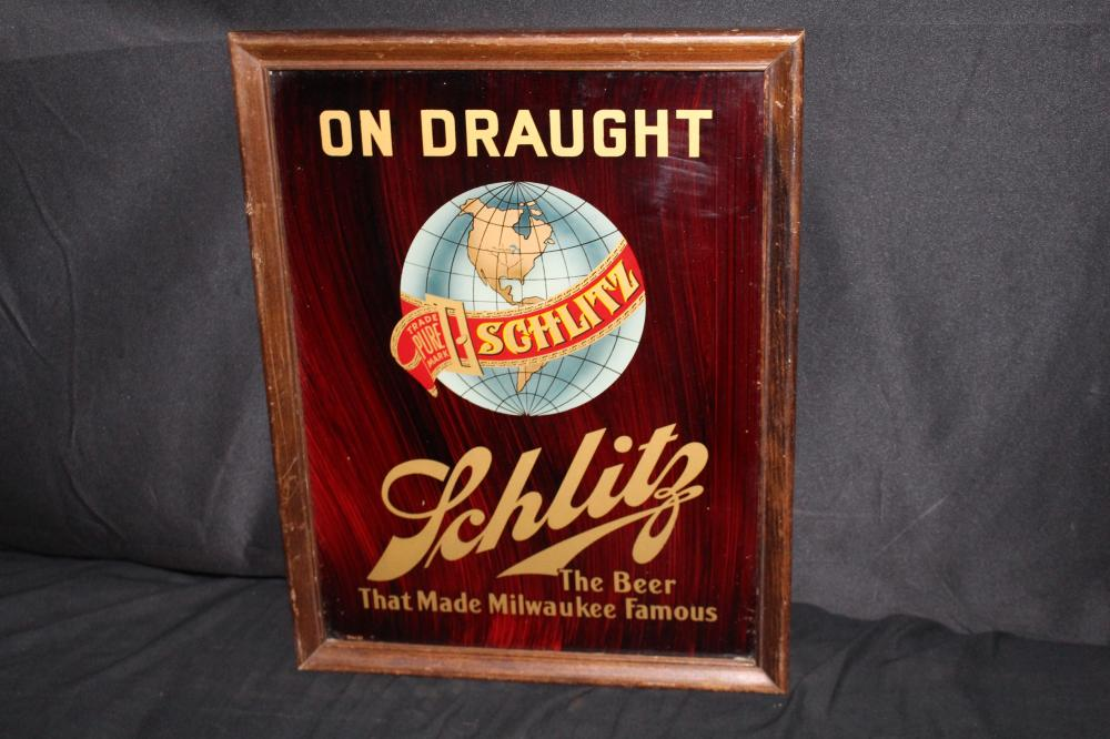 SCHLITZ ON DRAUGHT GLASS BEER SIGN