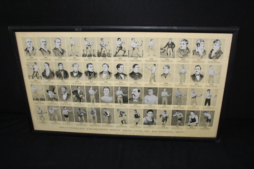 HEAVYWEIGHT CHAMPIONS 1719 TO 1937 LITHO SIGN
