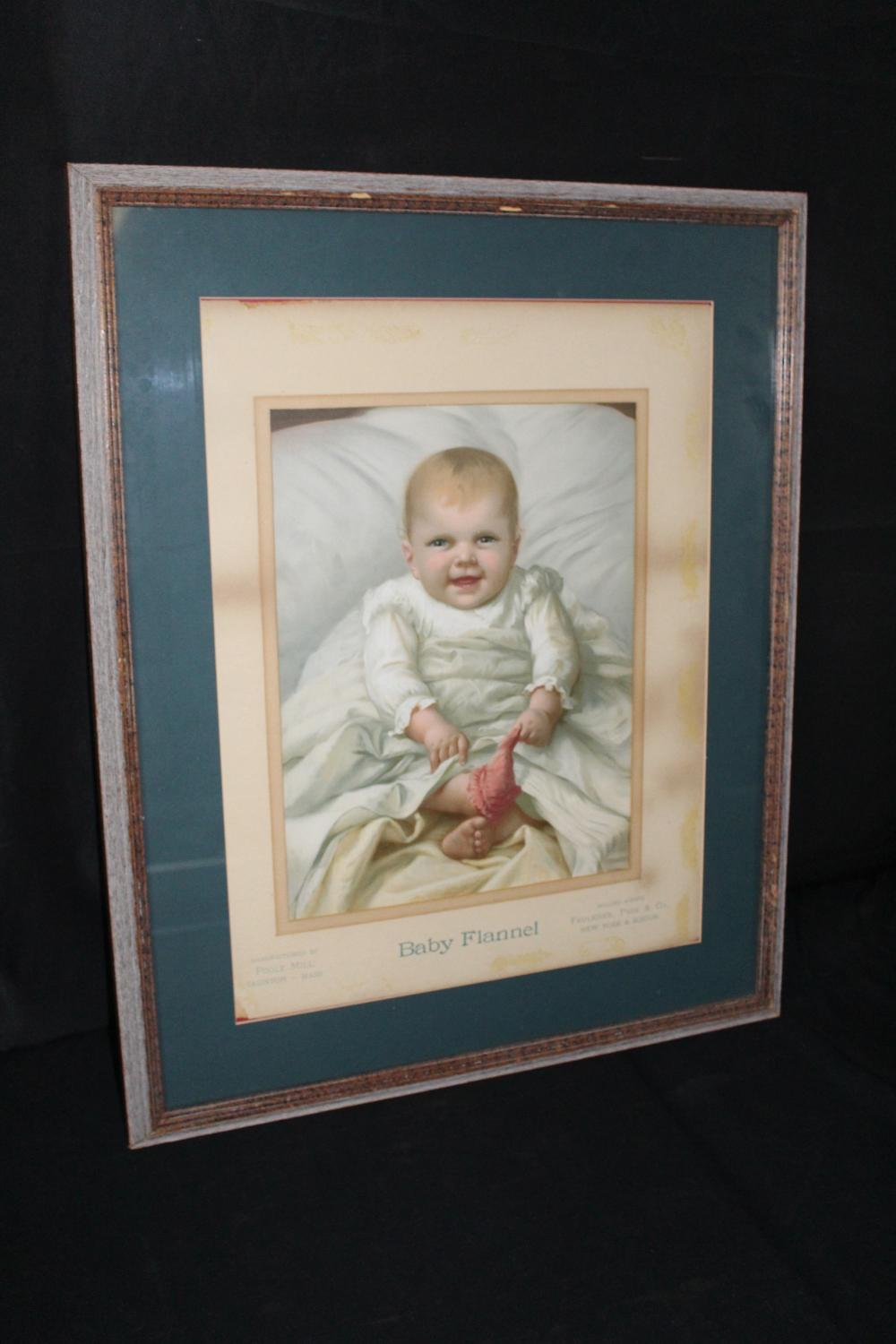 POOLE MILL TAUNTON MASS BABY FLANNEL LITHO SIGN