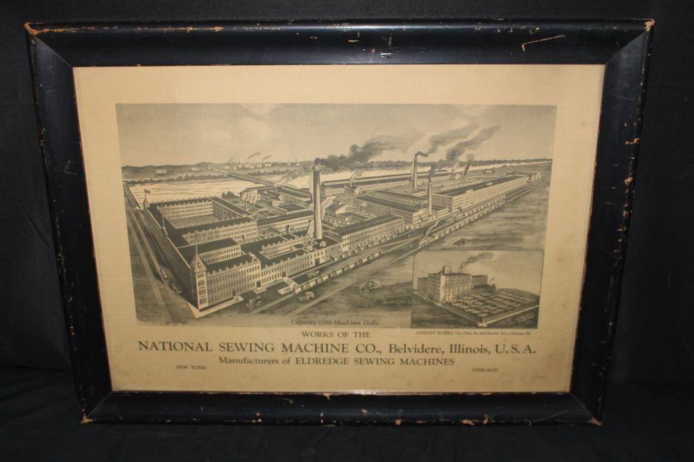 NATIONAL SEWING MACHINE CO BELVIDERE IL LITHO SIGN