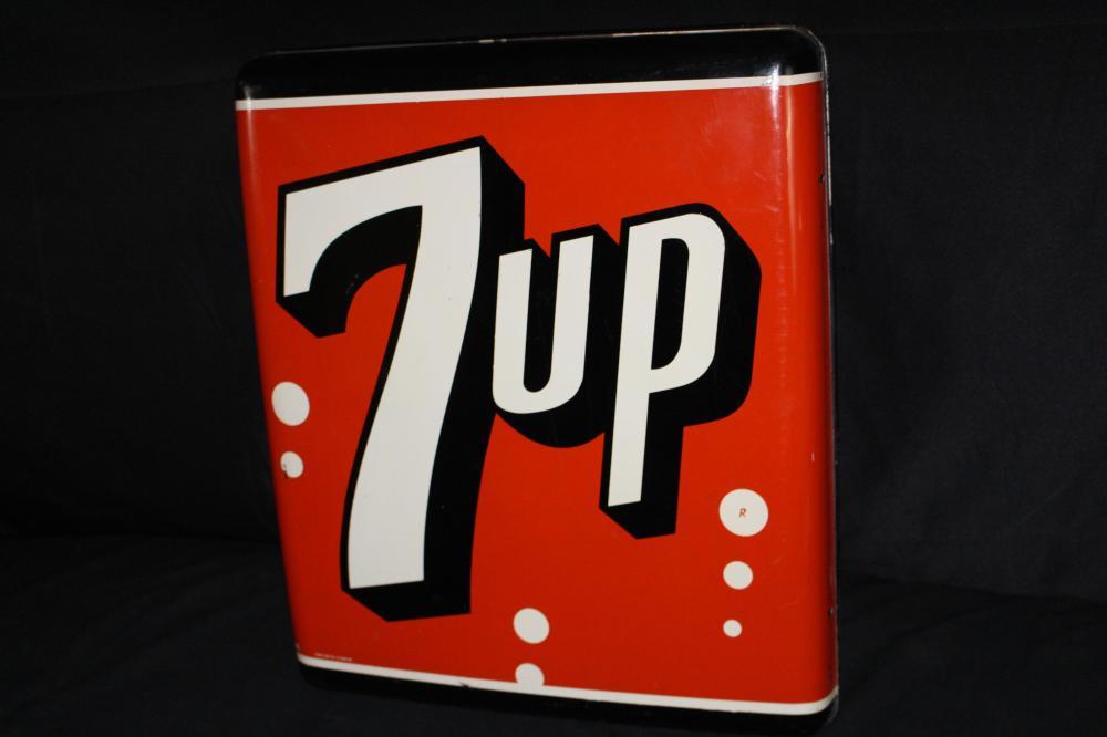 CONVEX 7 UP SEVEN UP SODA POP TIN SIGN