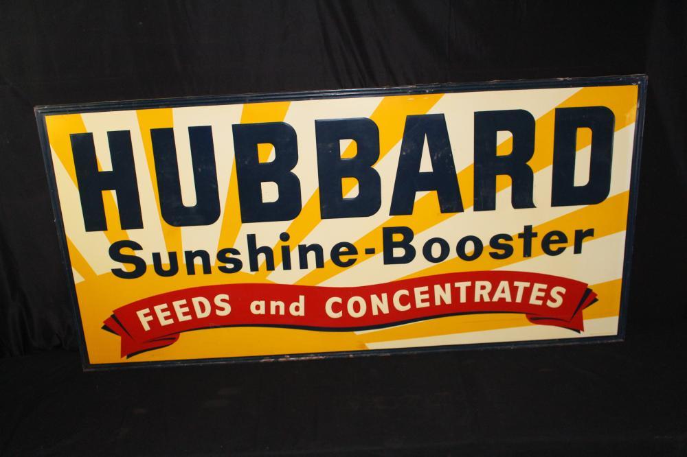 LARGE HUBBARD FEEDS TIN SIGN