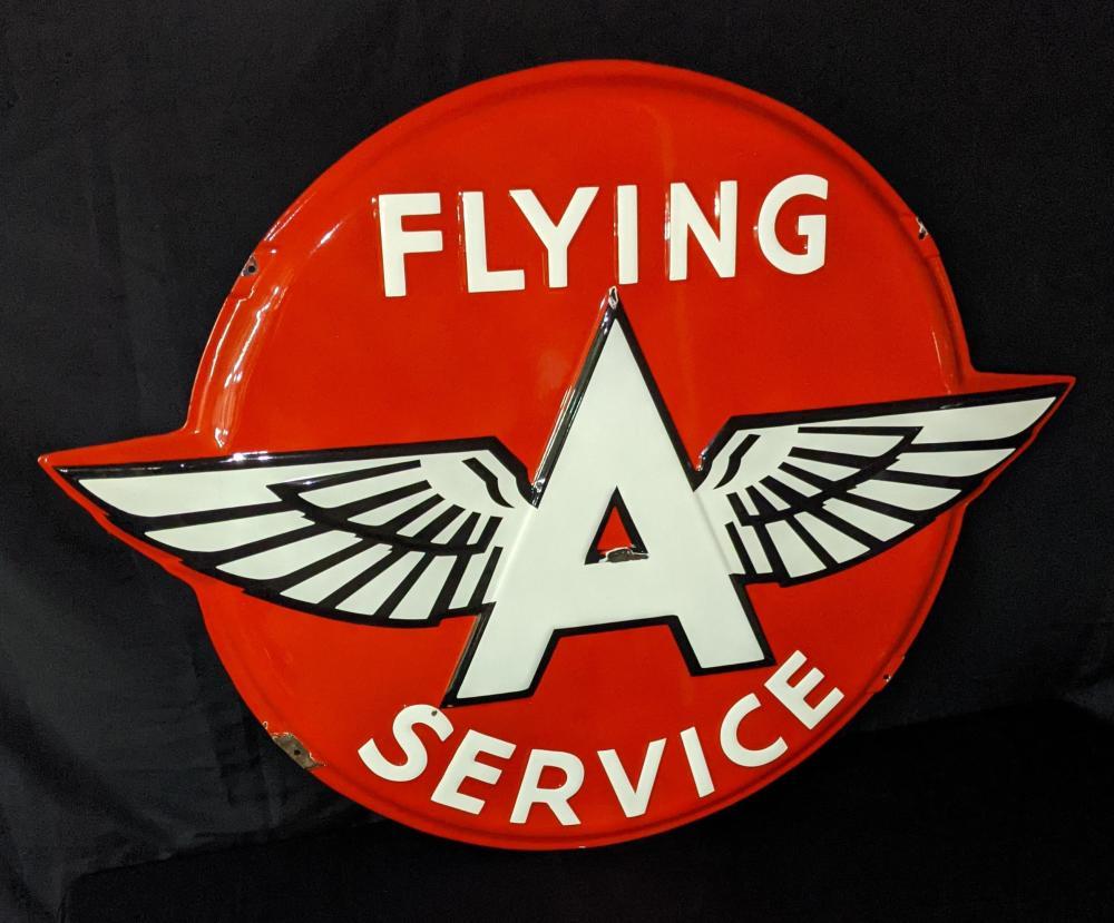 EMBOSSED PORCELAIN SIGN FLYING A SERVICE GASOLINE