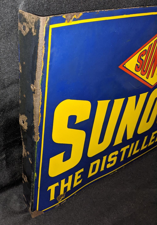 PORCELAIN FLANGE SIGN SUN OILS SUNOCO