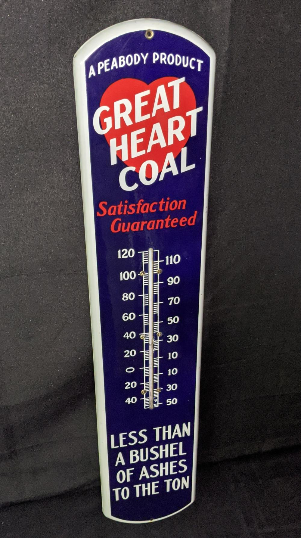 PORCELAIN THERMOMETER SIGN GREAT HEART COAL