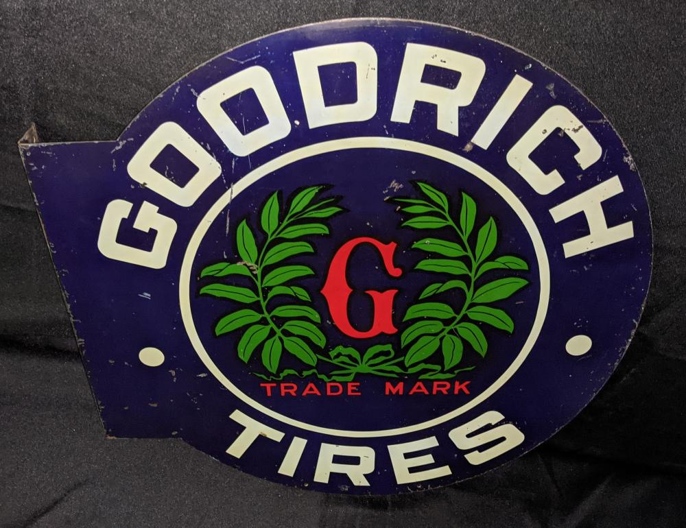 EARLY TIN FLANGE SIGN GOODRICH TIRES