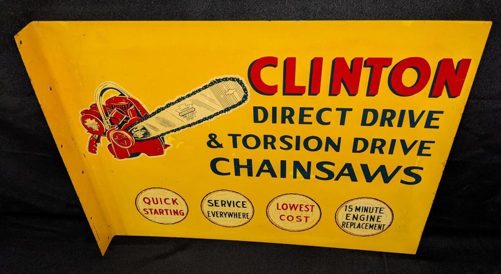 CLINTON CHAINSAWS CHAIN SAW TIN FLANGE SIGN