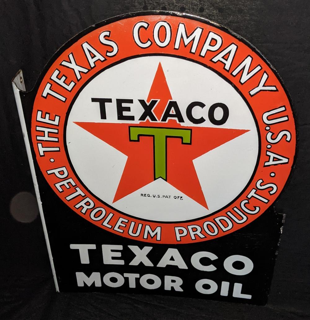 PORCELAIN FLANGE SIGN TEXACO MOTOR OIL