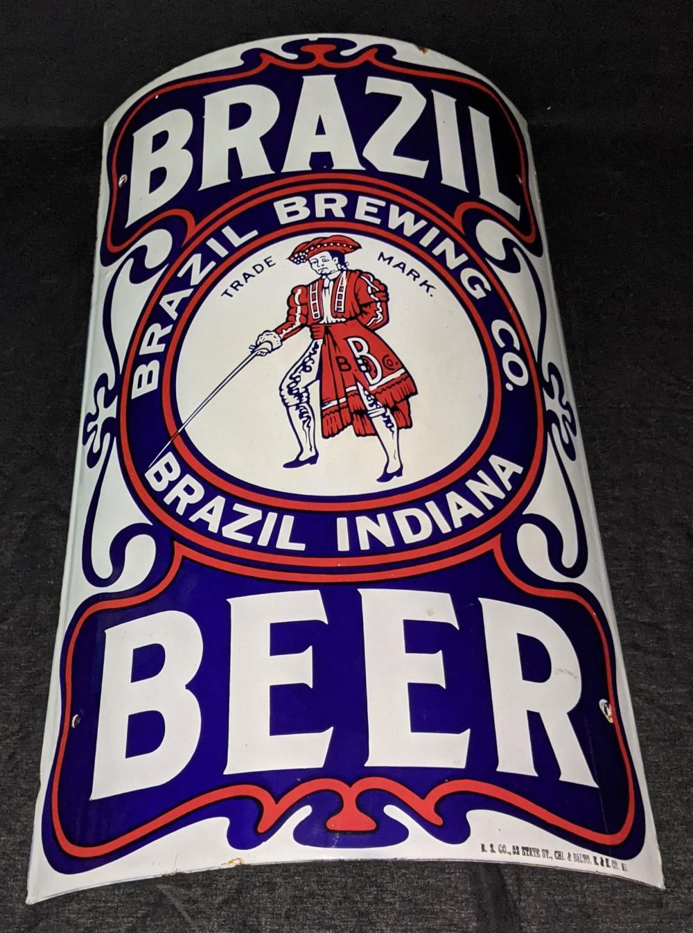 PORCELAIN CORNER BEER SIGN BRAZIL BREWING INDIANA