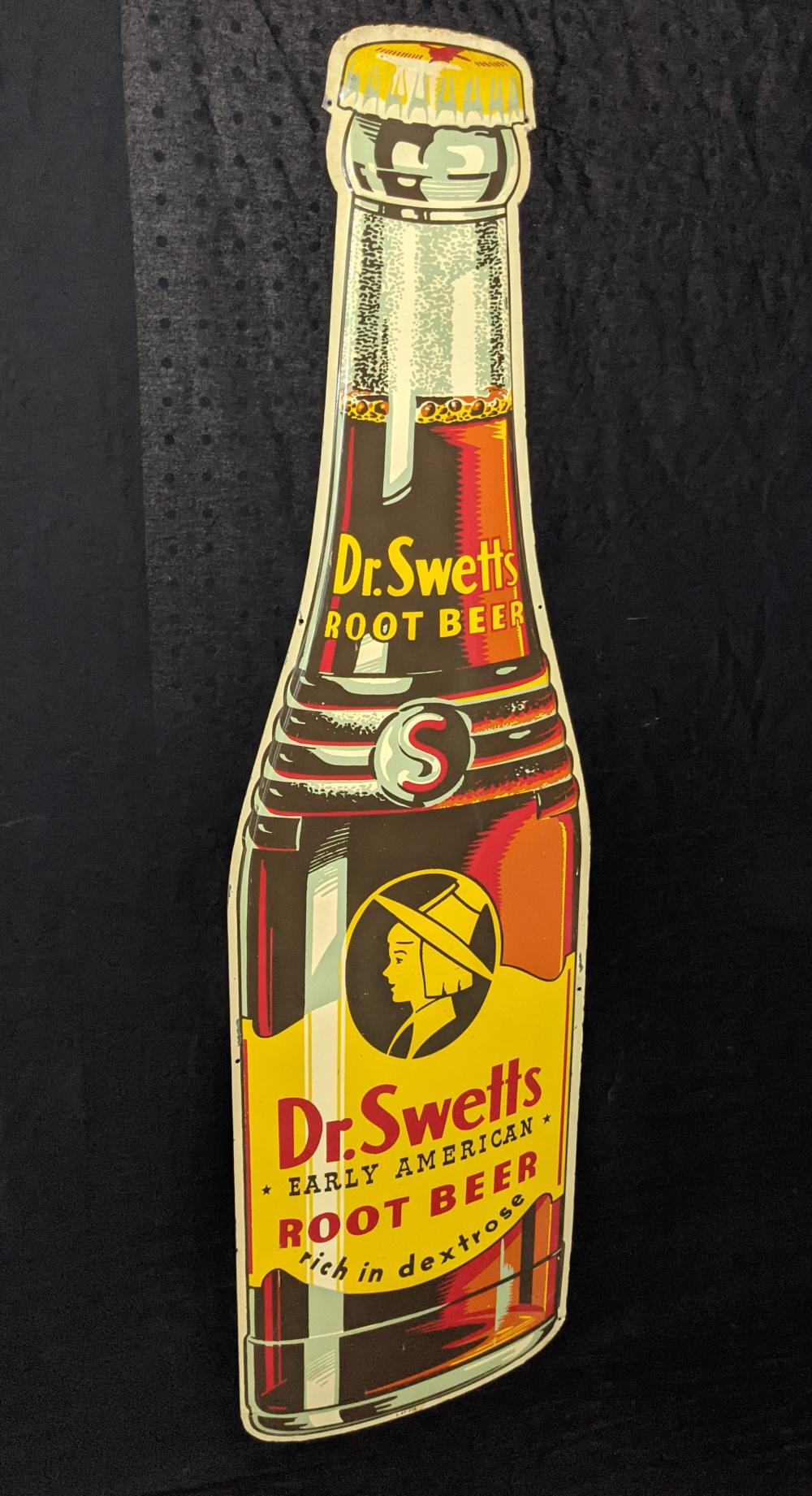 DIE CUT TIN BOTTLE SIGN DR SWETTS ROOT BEER