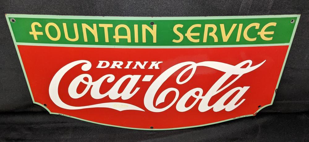 PORCELAIN SIGN DRINK COCA COLA FOUNTAIN SERVICE