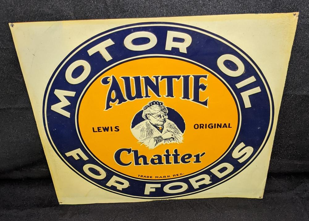 EMBOSSED TIN SIGN AUNTIE CHATTER MOTOR OIL FORDS