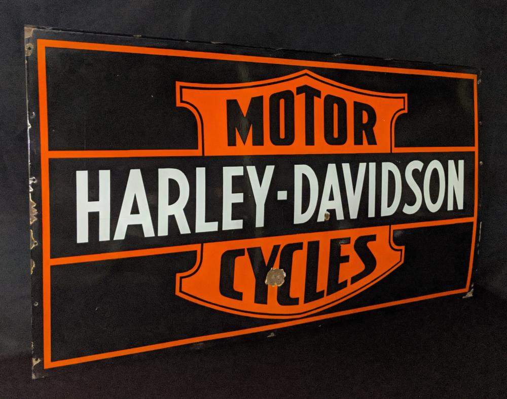 RARE PORCELAIN SIGN HARLEY DAVIDSON MOTORCYCLES